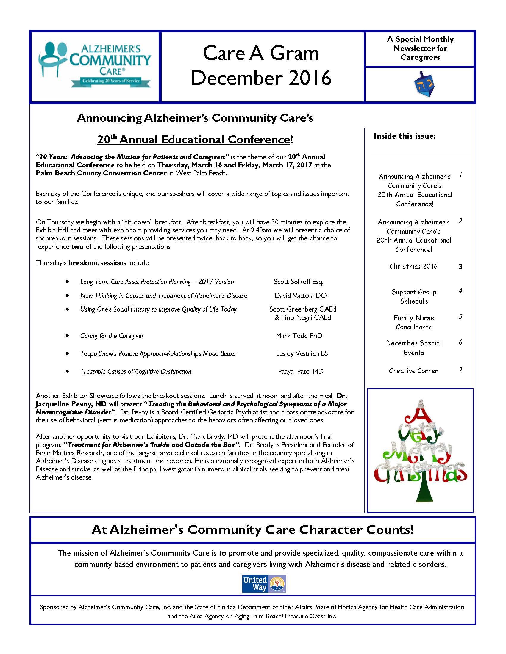 December 2016 Care A Gram