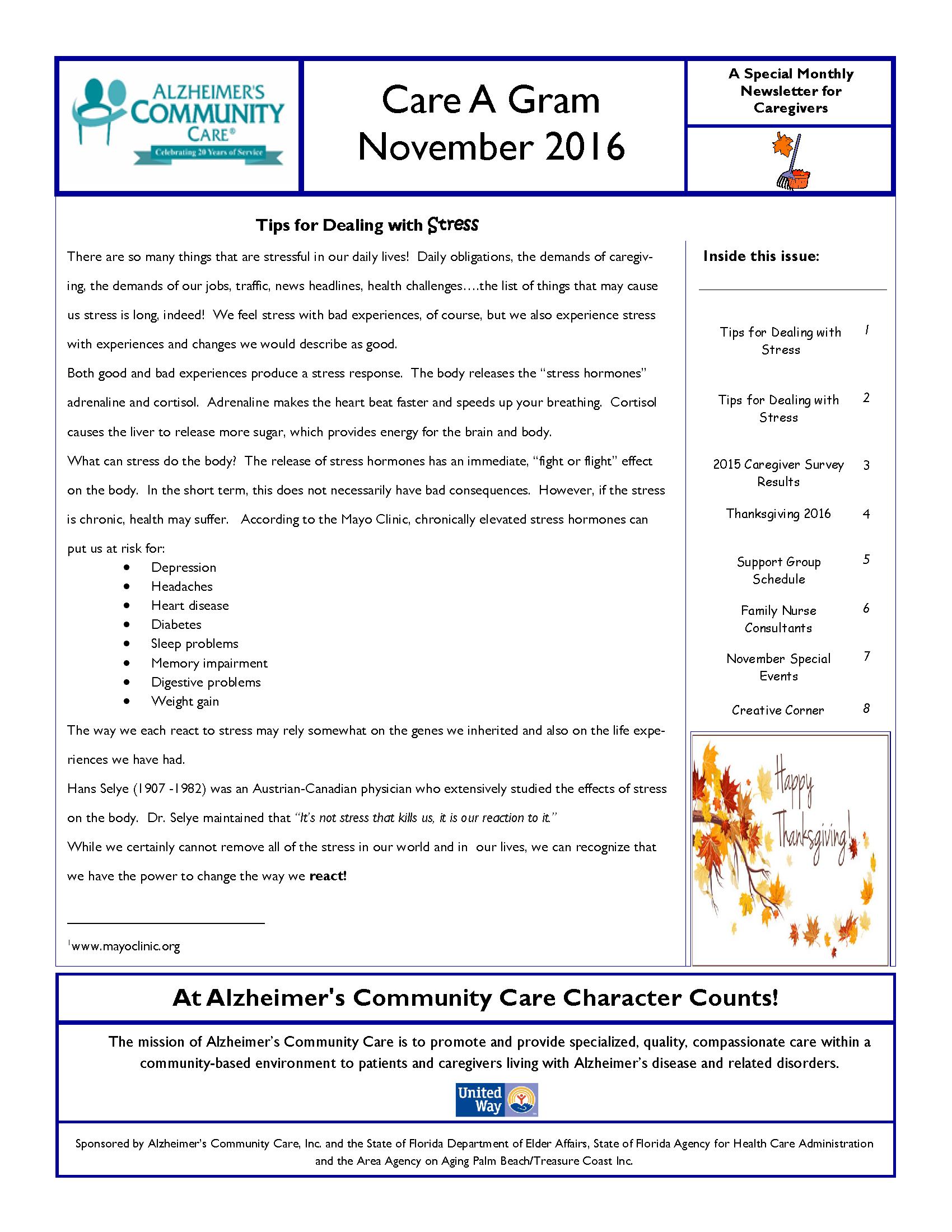 November 2016 Care A Gram