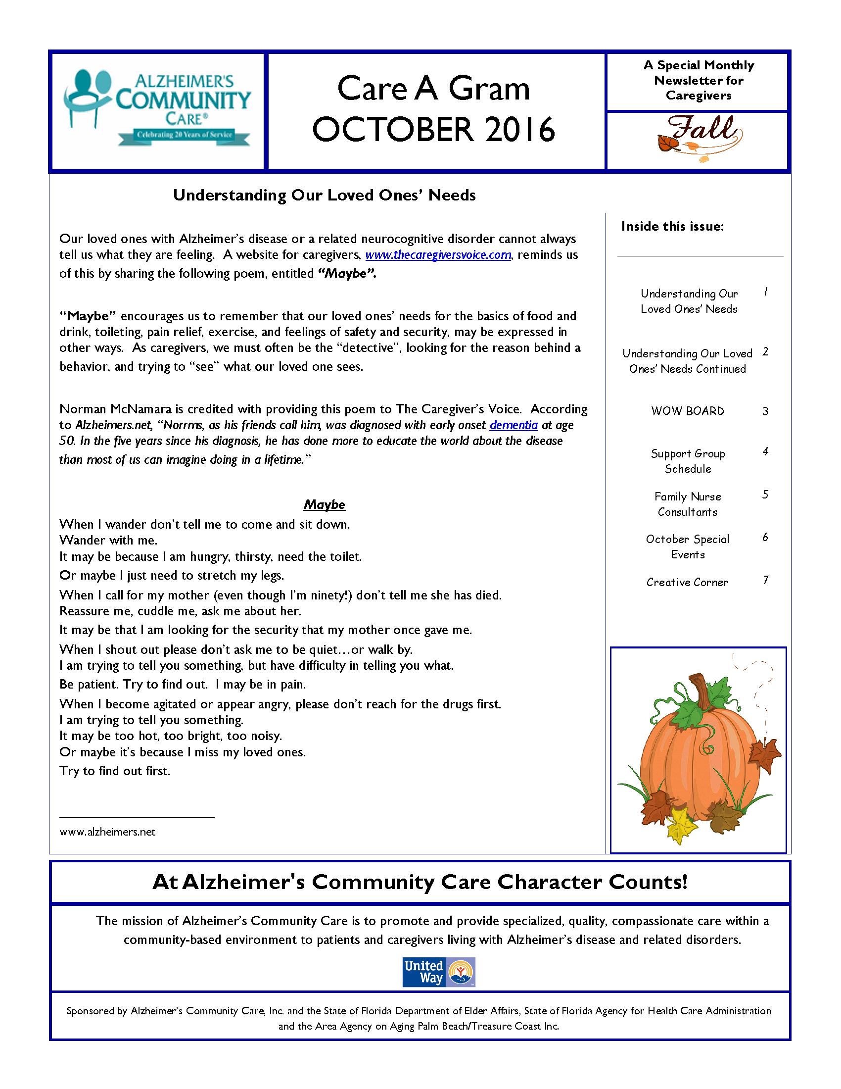 October 2016 Care A Gram
