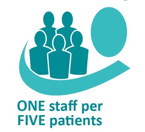 ONE staff per FIVE patients