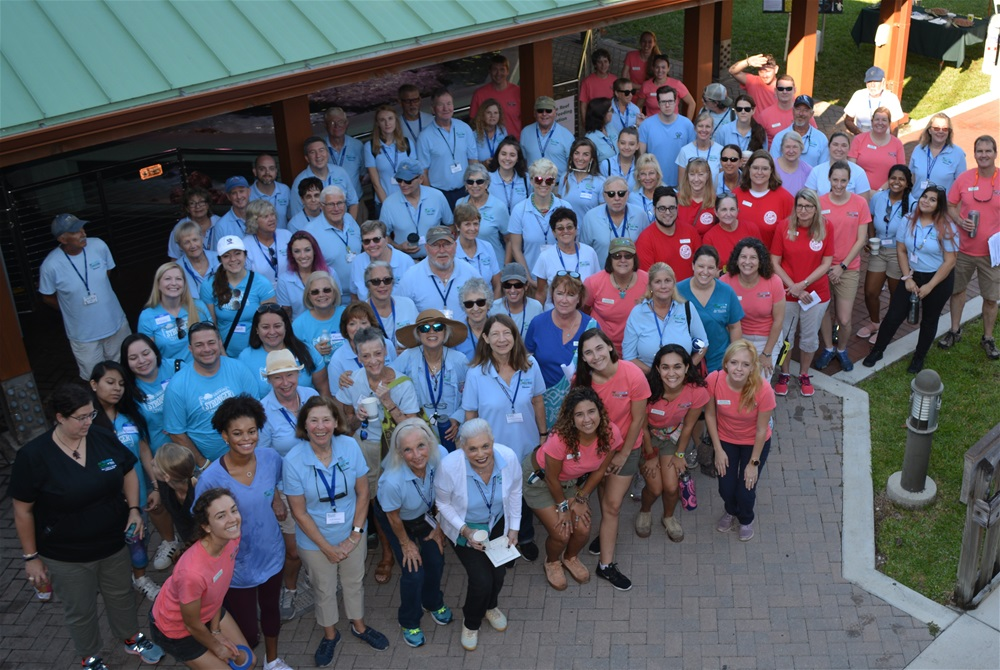 Large group of staff and volunteers