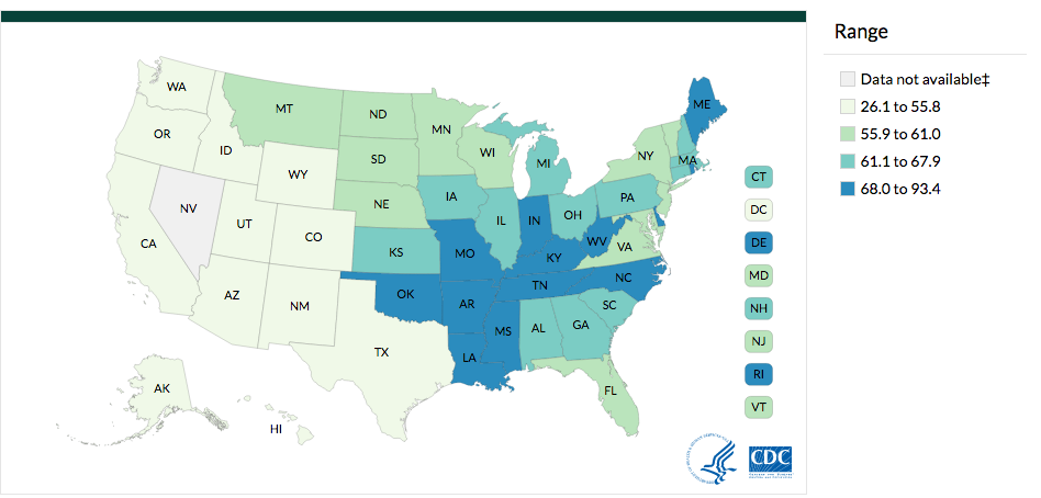 Lung and Brochus Cancer Incidence Rates by State, 2013
